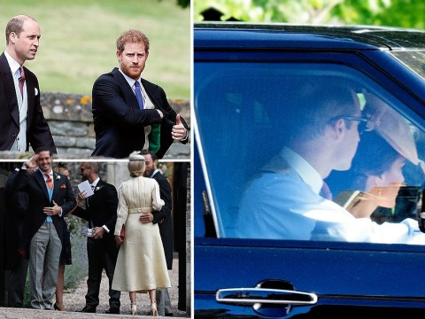 Duke and Duchess of Cambridge seen driving to Pippa's wedding as first guests arrive