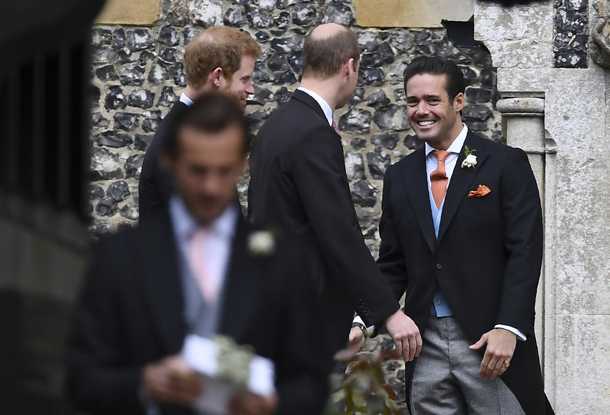 Spencer Matthews and Donna Air arrive for Pippa Middleton and James Matthews' wedding in Berkshire