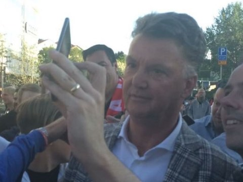 Louis van Gaal mobbed outside stadium ahead of Manchester United's Europa League final