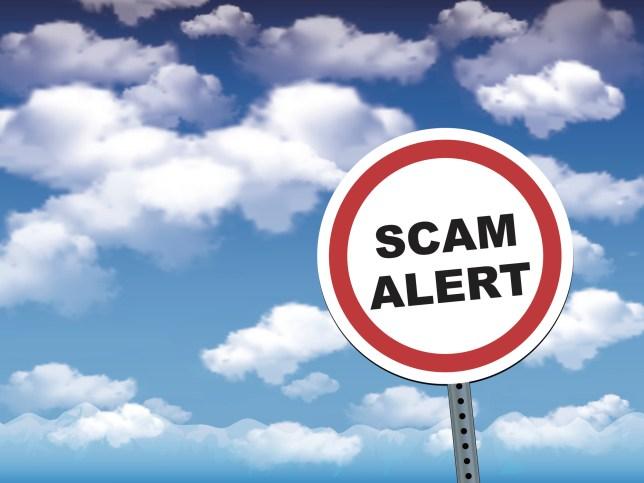scam alert Road Warning Sign.