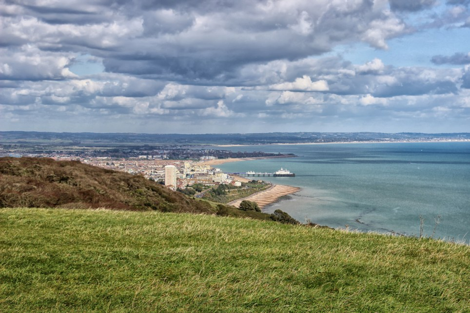 The town of Eastbourne on the south east coast of England, seen from Beachy Head on the edge of the South Downs.