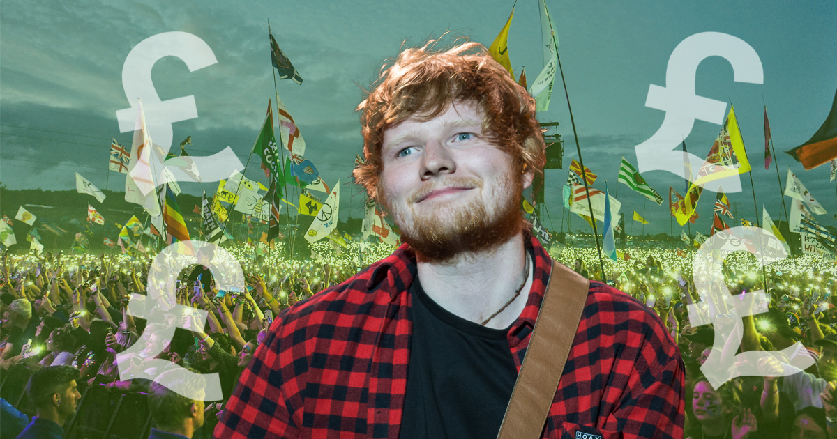 Ed Sheeran and his fellow Glastonbury headliners earned much less than they would at other festivals