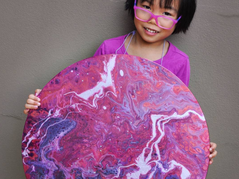 This five-year-old is making paintings that should be in a gallery, not a primary school