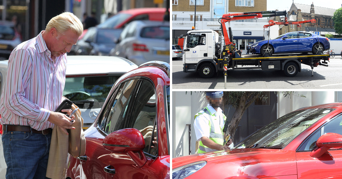 Boris Becker's week gets worse as his Maserati is towed away and Porsche slammed with a fine