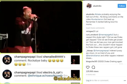 Drake gives reaction after rival rapper XXXTentacion is knocked out