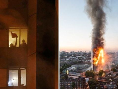 People seen waving desperately through flames in Grenfell Tower