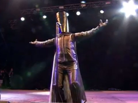 Lord Buckethead made a guest appearance at Glastonbury to introduce Sleaford Mods