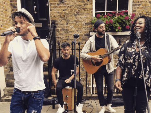 Peter Andre was spotted busking on a street in North London by some eagle-eyed fans