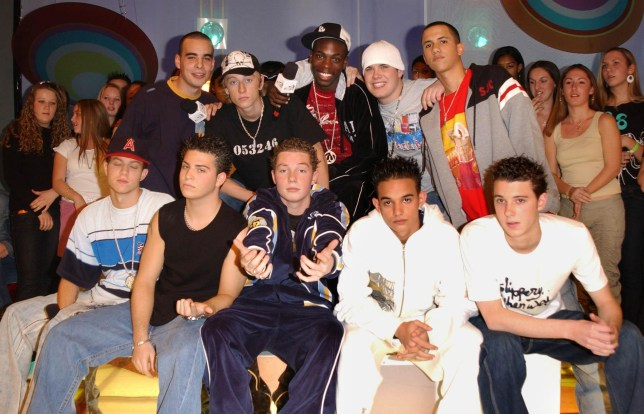 Blazin Squad during their appearance on MTV's TRL UK, at the MTV Studios in Camden, north London Monday 27 October 2003. PA Photo : Anthony Harvey