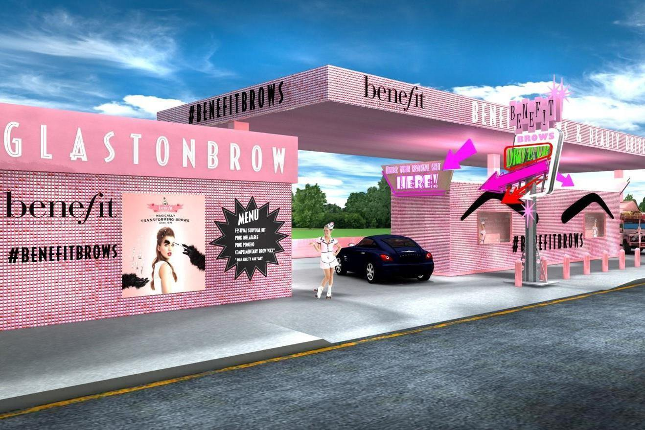 Benefit will have a drive-thru brow bar en-route to Glastonbury