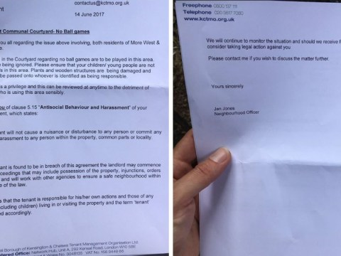 Grenfell Tower neighbours sent letter warning of legal action for playing ball games the day after fire