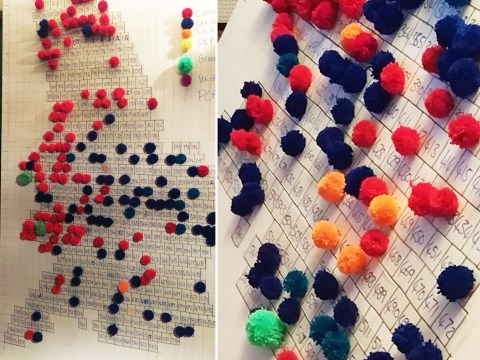 This couple live tracked Thursday's election results using pom poms