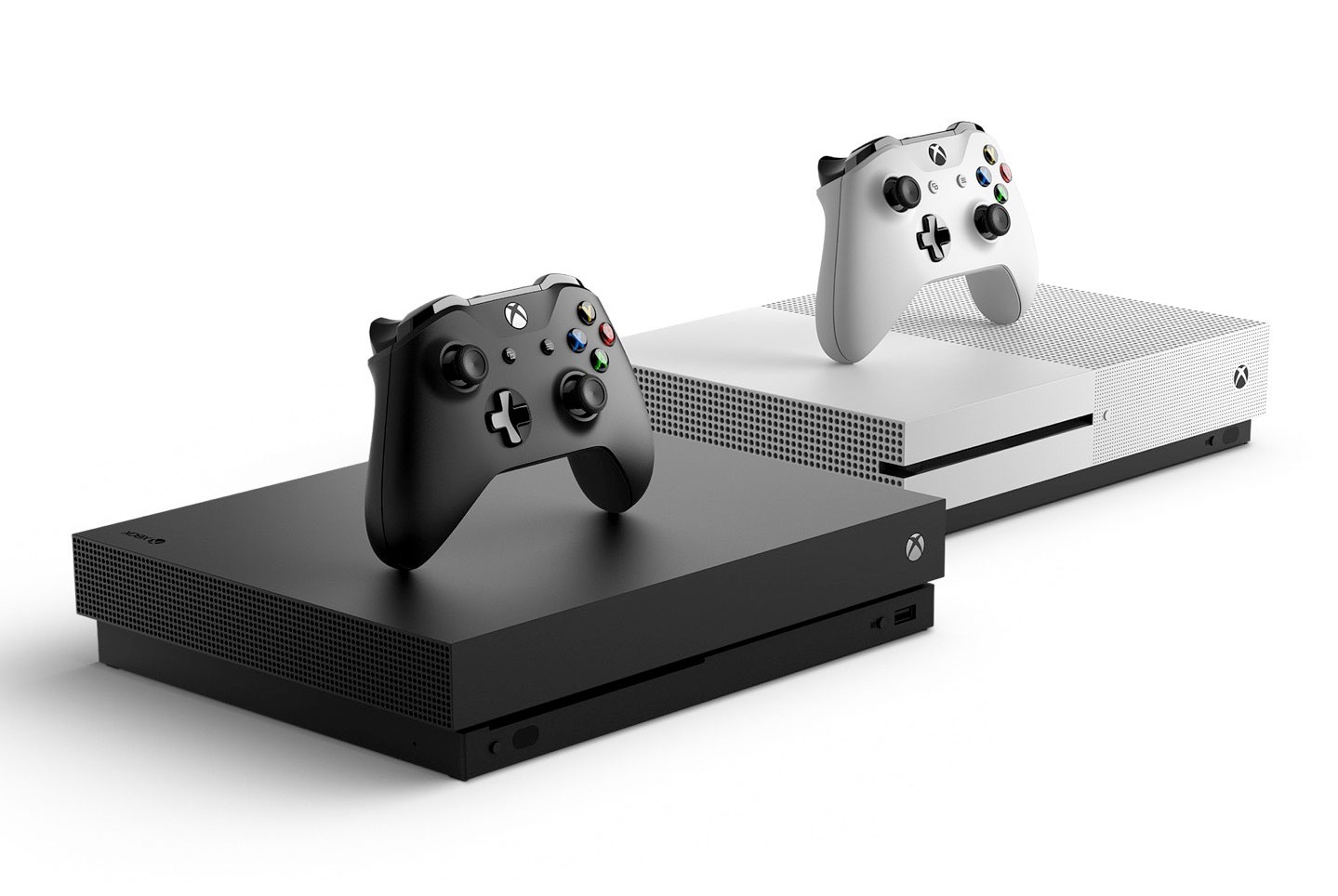 Xbox One X and Xbox One S consoles