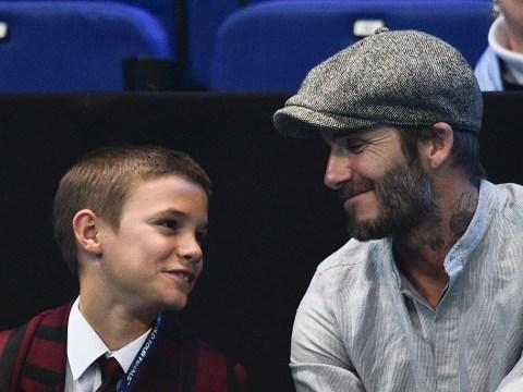 Romeo Beckham gets a tennis lesson from Nicole Scherzinger's boyfriend Grigor Dimitrov