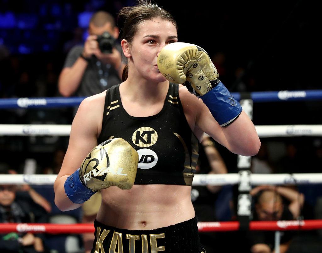 Katie Taylor runs through Jasmine Clarkson on US debut with third-round stoppage