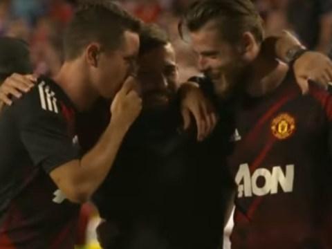 Ander Herrera and David De Gea approach Manchester United target Jordi Alba after Barcelona clash