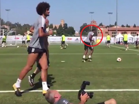 Anthony Martial caught cracking up at Marouane Fellaini's woeful pass in Manchester United training