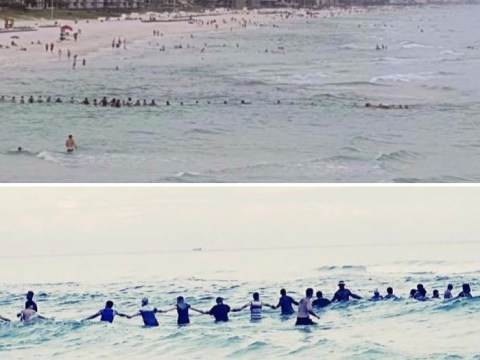 80 people form human chain to save swimmers trapped in riptide off beach