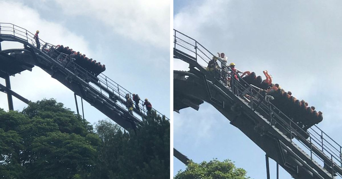 Riders escorted off Alton Towers Oblivion after ride halts 180ft in the air