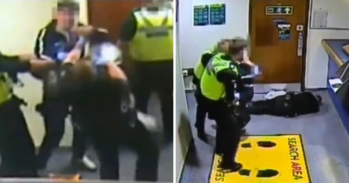 Shocking video shows man under arrest viciously knocking out police officer