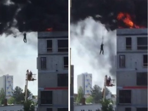 Crane driver saves colleague from burning building in dramatic rescue