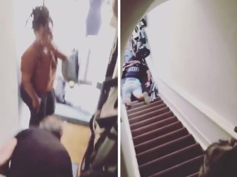 Airbnb host pushes guest down stairs during heated argument in shocking video