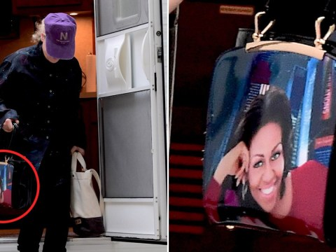 Meryl Streep owns an amazing handbag featuring the faces of Michelle and Barack Obama