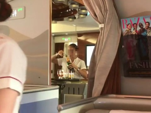 Air stewardess filmed 'pouring champagne back into bottle'