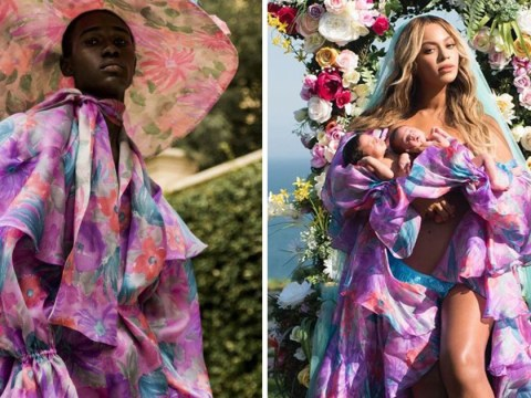 Beyonce's incredible outfit for the twins' debut photo was first modelled by a man and we love it