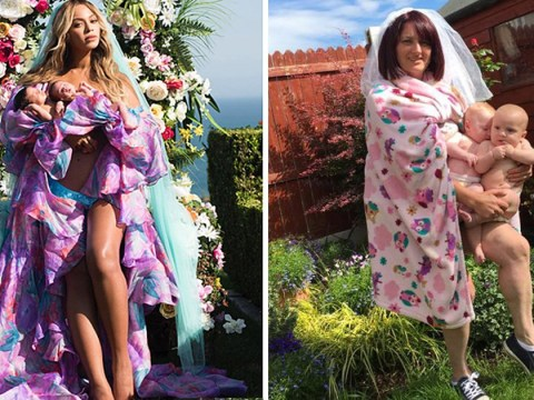 Mum recreates Beyoncé's twin reveal photo with glorious backyard photoshoot