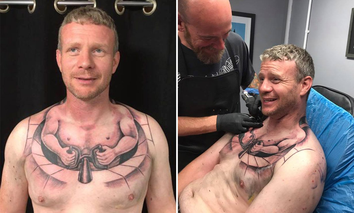Trucker gets bizarre chest tattoo which makes him look like he's driving a tiny car