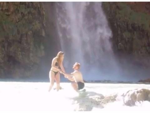 Boyfriend fails so hard at proposing when he drops ring down waterfall