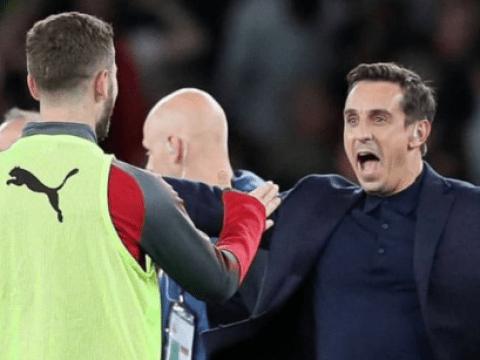 Manchester United legend Gary Neville trolled for celebrating Arsenal comeback