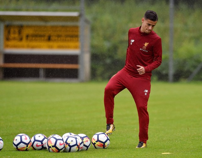 1c30e9424 Liverpool s Philippe Coutinho in training protest to force Barcelona  transfer