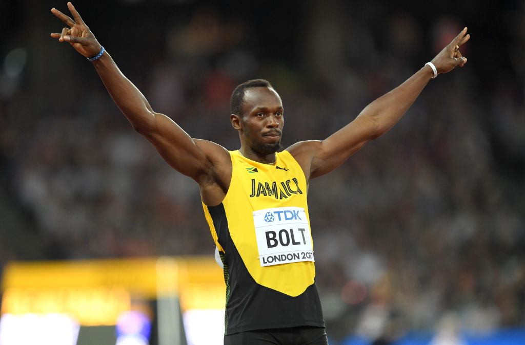 When is Usain Bolt running at the 2017 World Atheltics Championship on Saturday night?