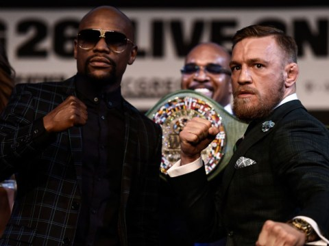 Floyd Mayweather tells his own supporter to stop heckling during tense Conor McGregor face-off
