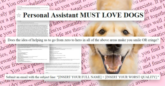 Couple post hugely descriptive personal assistant job ad on