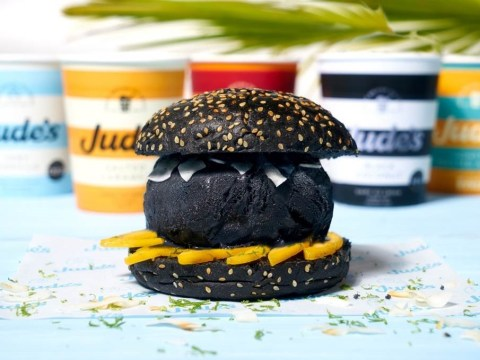 Yep, a black ice cream burger made with ash is coming to London this August