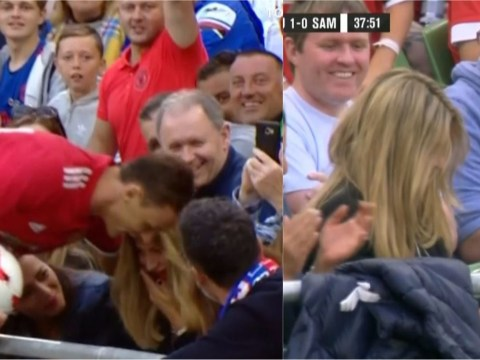 Nemanja Matic kicks the ball into woman's face and breaks her glasses