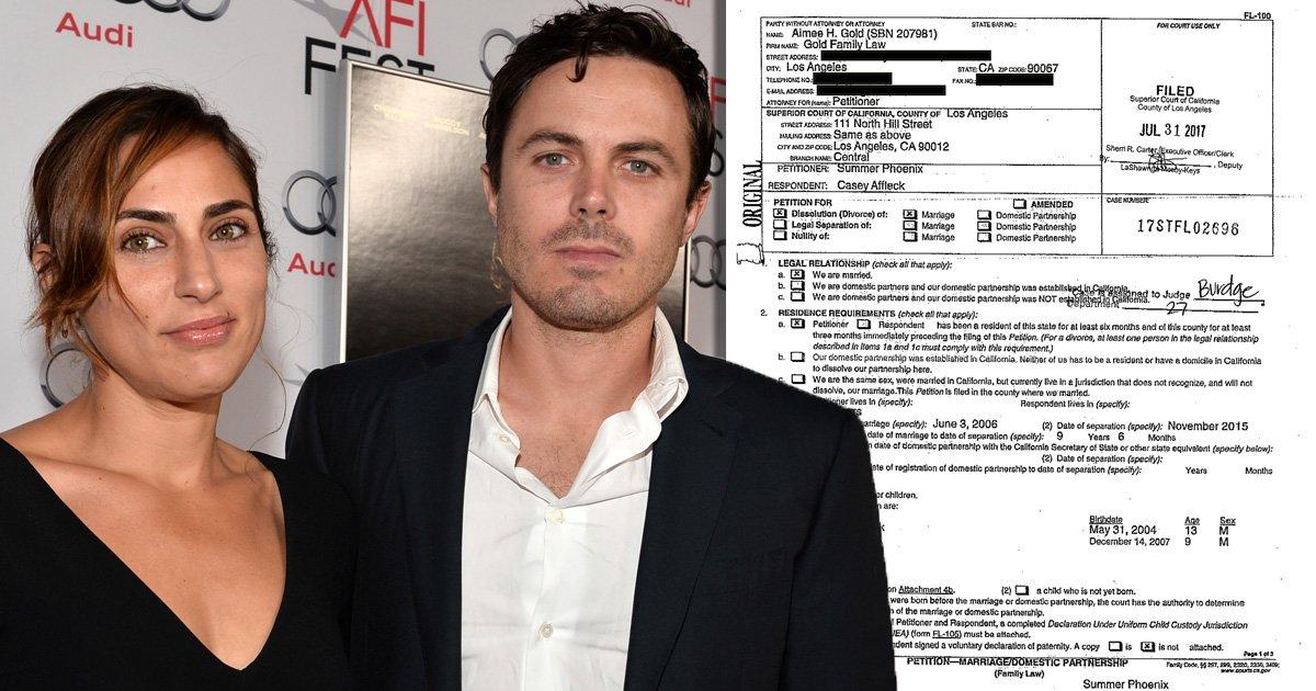 See divorce document: Casey Affleck and Summer Phoenix make split official filing for divorce