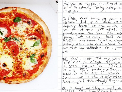 Pizza delivery guy leaves really creepy note for girl who didn't tip him