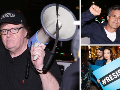 Michael Moore took his Broadway audience to Trump Tower protests