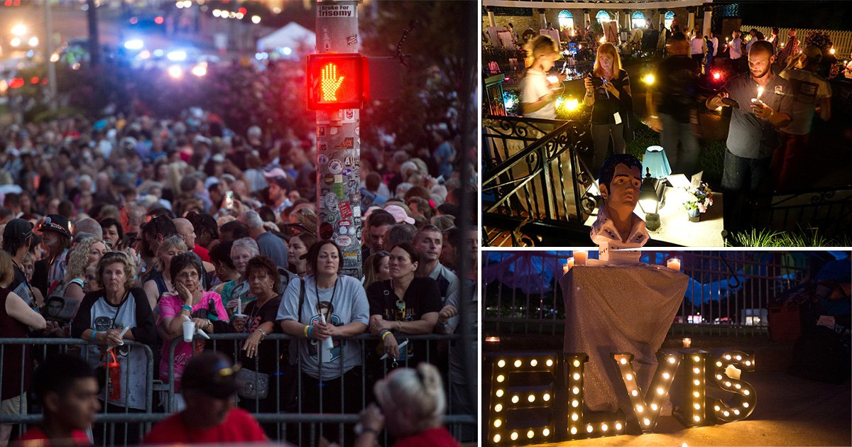 Elvis Presley fans gather at Graceland for candlelight vigil on 40th anniversary of his death