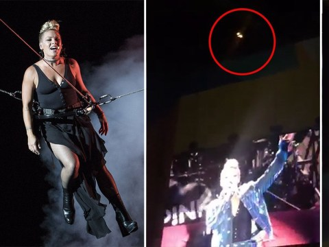Pink's V Festival set goes up in flames after firework stunt goes wrong mid-performance