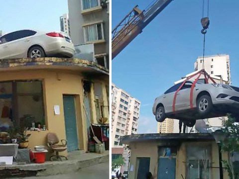 Security guards hire crane to lift illegally parked car onto roof to teach driver a lesson