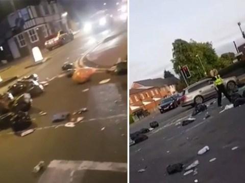 People throw rubbish bags around to protest against Birmingham's bin strike