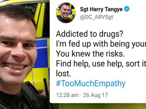 Police officer tweets that he's 'fed up with drug addicts'
