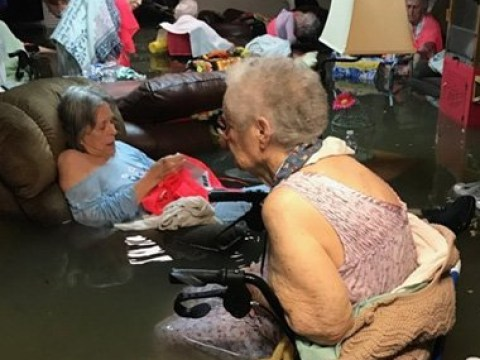 Elderly nursing home residents wait to be rescued from Hurricane Harvey floods