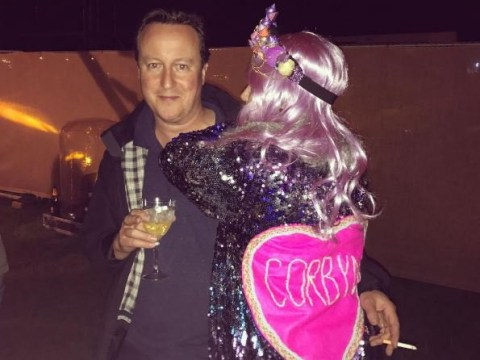 David Cameron shares smoke, drink and hug with woman in sparkly Corbyn jacket