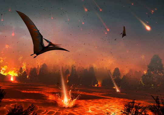 Artwork of pterosaurs flying over a scene of destruction 65 million years ago (Credits: Getty Images/Science Photo Library RF)